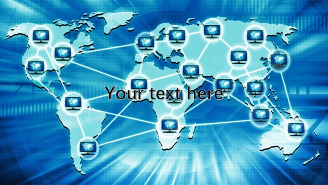 World Map with Digital Tech PowerPoint Background