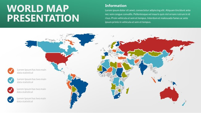 Colored World Maps Powerpoint Template